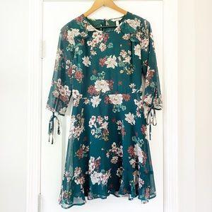 Speechless Green Floral Ruffle Dress L